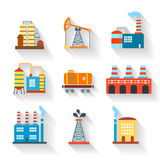 Industrial and Building icons flat style,  vector Royalty Free Stock Photography