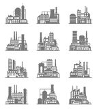 Industrial building icons set Royalty Free Stock Images