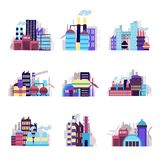 Industrial building icons set Royalty Free Stock Photography