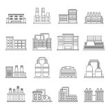 Industrial building icons set, outline style Royalty Free Stock Image