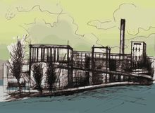 Industrial building illustration. Abstract factory drawing. Pen drawing colored in photoshop Stock Photography
