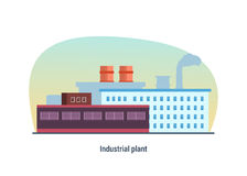 Industrial building of plant, modern interior and exterior facade. Royalty Free Stock Photos