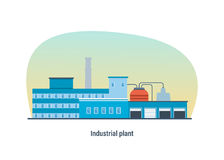Industrial building of plant, modern interior and exterior facade. Stock Image