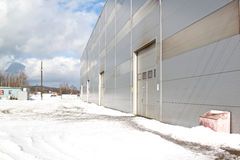 Industrial building prospect. Prospect of a modern building of the panels of the industrial plant Stock Image