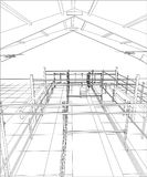 Industrial building wireframe for abstract background.Tracing illustration of 3d Stock Photography