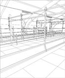 Industrial building wireframe for abstract background.Tracing illustration of 3d Royalty Free Stock Photo