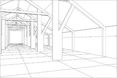 Industrial building wireframe for abstract background.Tracing illustration of 3d Stock Photos