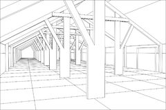 Industrial building wireframe for abstract background.Tracing illustration of 3d Stock Images