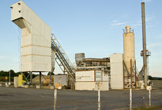 Industrial buildings. A group of industrial buildings involved in gravel production stock images