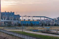 Industrial buildings of CHP at dusk Stock Photo