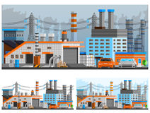 Industrial Buildings Compositions Set. Industrial buildings orthogonal compositions set with pipes and parking flat  vector illustration Stock Photos
