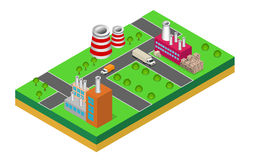 Industrial buildings factories and boilers in perspective. Isometric factories Stock Photo