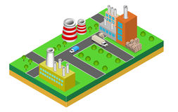 Industrial buildings factories and boilers in perspective. Isometric factories Royalty Free Stock Image