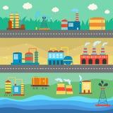 Industrial buildings factories horizontal banners Stock Photos