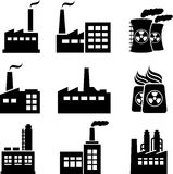 Industrial buildings and factories. Industrial buildings, nuclear plants and factories Royalty Free Stock Photos