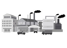 Industrial buildings factory. With offices and production facilities and trucks isolated over white Stock Photos