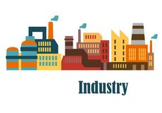 Industrial buildings flat design. For industry and ecology concept Stock Photos