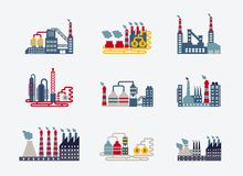 Industrial buildings icons Royalty Free Stock Image