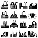 Industrial buildings icons set Stock Photography