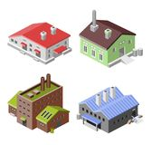 Industrial buildings isometric Stock Image