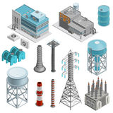 Industrial Buildings Isometric Icons Set. With elements of power station boiler plant and power line supports vector illustration Stock Photos