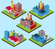 Industrial Buildings Isometric Royalty Free Stock Photography