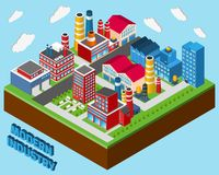 Industrial Buildings Isometric Royalty Free Stock Image