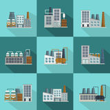 Industrial Buildings Long Shadow Flat Icons Stock Image