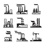 Industrial buildings, nuclear plants and factories Royalty Free Stock Photos