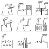 Industrial Buildings and Factories Web Line Icons Royalty Free Stock Image