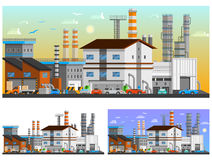 Industrial Buildings Orthogonal Compositions Set. Industrial buildings in the city orthogonal compositions set flat isolated vector illustration Stock Images