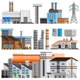 Industrial Buildings Orthogonal Set Stock Images