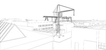 Industrial buildings outline. Wire-frame style. 3d illustration Royalty Free Stock Photos