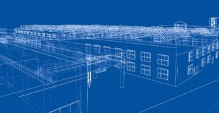 Industrial buildings outline. Wire-frame style. 3d illustration Royalty Free Stock Photography