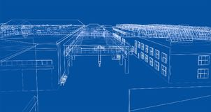 Industrial buildings outline. Wire-frame style. 3d illustration Royalty Free Stock Photo