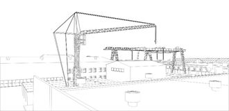 Industrial buildings outline. Wire-frame style. 3d illustration Royalty Free Stock Image