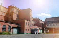 Industrial buildings of red brick old factory Royalty Free Stock Photos