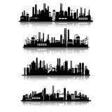 Industrial buildings silhouettes Royalty Free Stock Photo