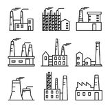 Industrial buildings thin line icons set. Plant and factrories. Heavy industry power and nuclear plants. EPS10 + JPEG preview Royalty Free Illustration