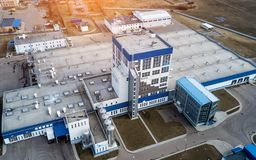 Industrial buildings top view. Aerial survey royalty free stock photography