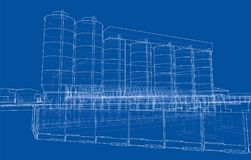 Industrial buildings. Vector. Rendering of 3d. Wire-frame style Stock Photography