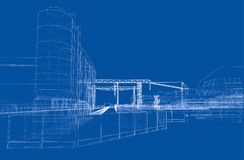Industrial buildings. Vector. Rendering of 3d. Wire-frame style Stock Photo