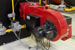 Industrial burner gas boilers. Boiler room, Industrial burner gas boilers stock image
