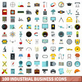 100 industrial business icons set, flat style. 100 industrial business icons set in flat style for any design vector illustration Stock Photos