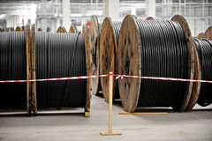 Industrial cable drums Stock Image