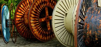 Industrial cable reels Stock Image
