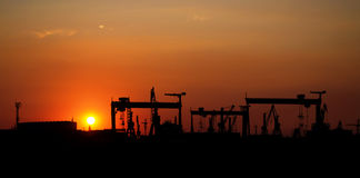 Industrial camp at sunset Royalty Free Stock Image