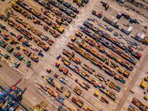 Industrial Cargo area with container ship in dock at port, Aerial view Stock Images