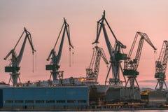 Industrial cargo cranes in the dock Stock Photo