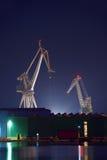 Industrial cargo cranes in the dock Stock Image